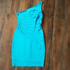 Cache turquoise cocktail dress size 6